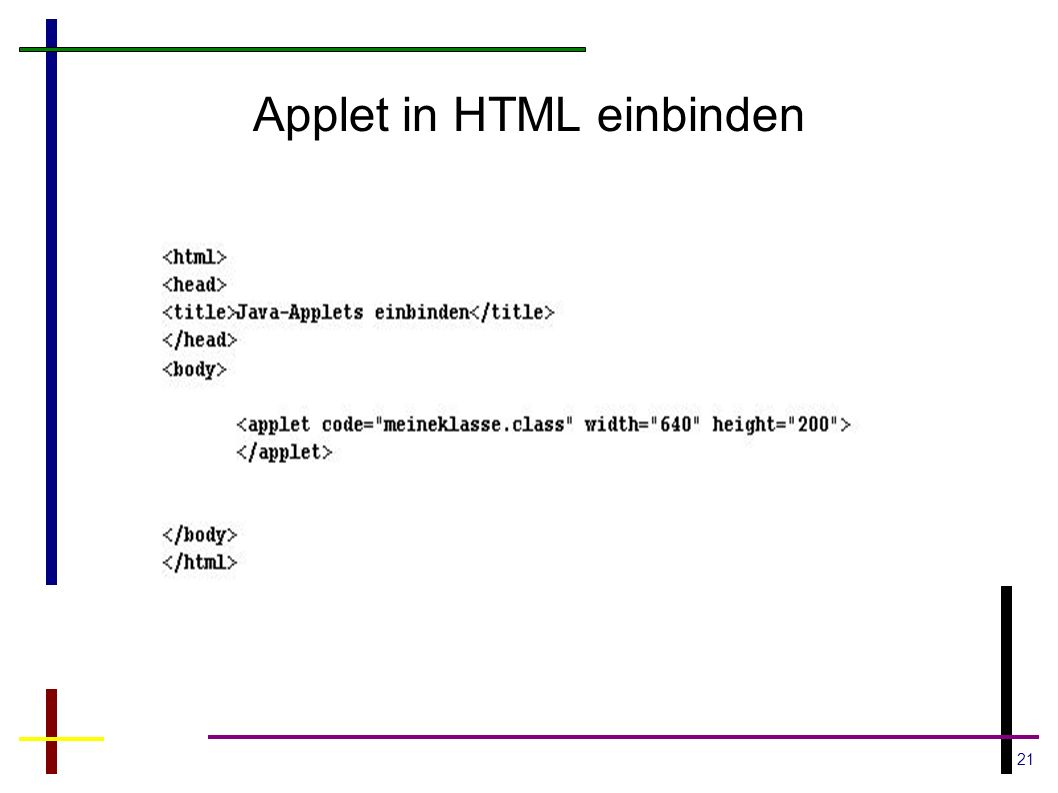 21 Applet in HTML einbinden