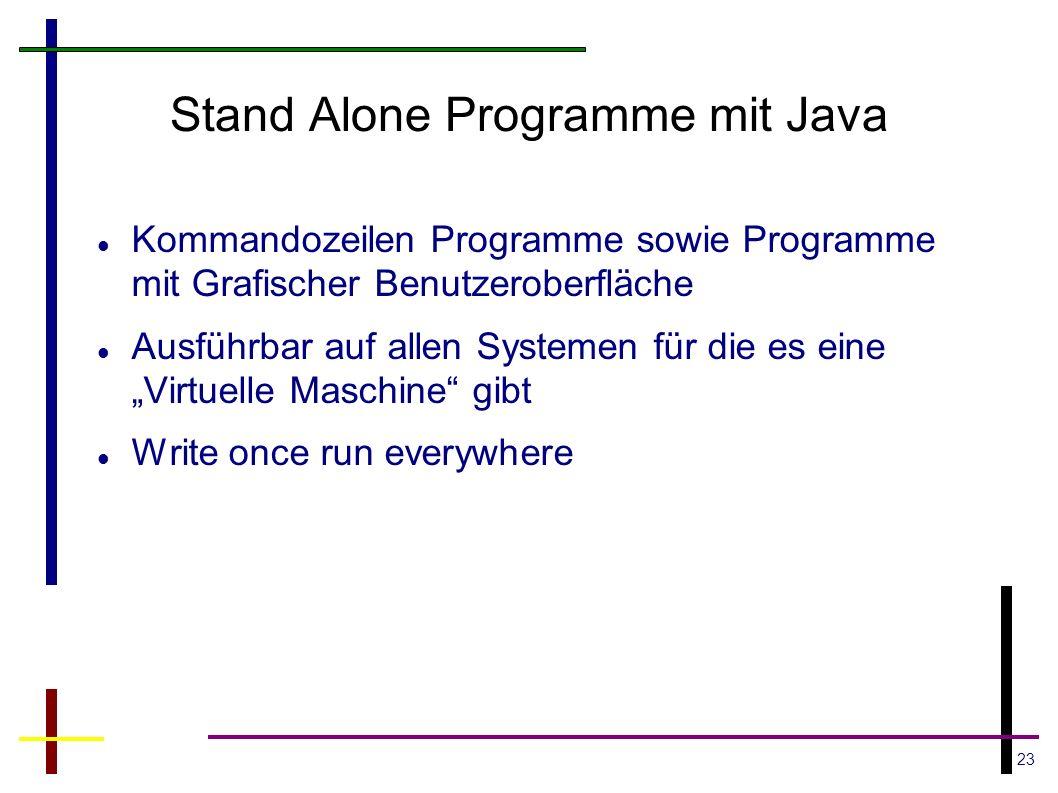23 Stand Alone Programme mit Java Kommandozeilen Programme sowie Programme mit Grafischer Benutzeroberfläche Ausführbar auf allen Systemen für die es