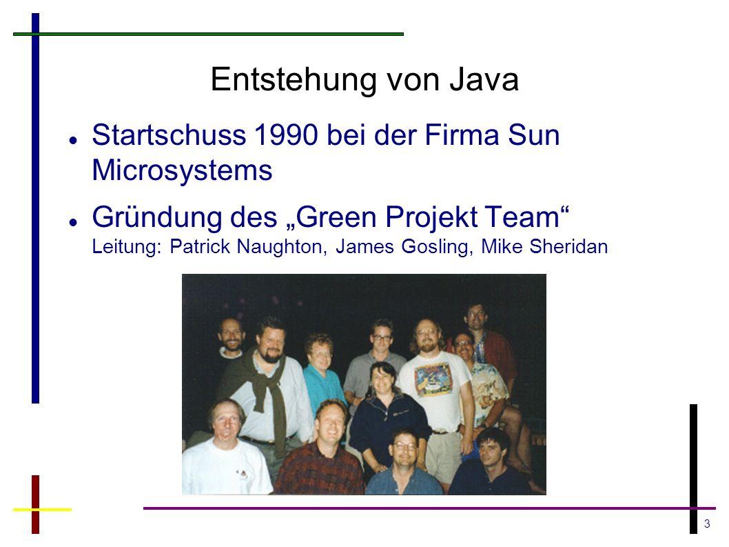 3 Entstehung von Java Startschuss 1990 bei der Firma Sun Microsystems Gründung des Green Projekt Team Leitung: Patrick Naughton, James Gosling, Mike S
