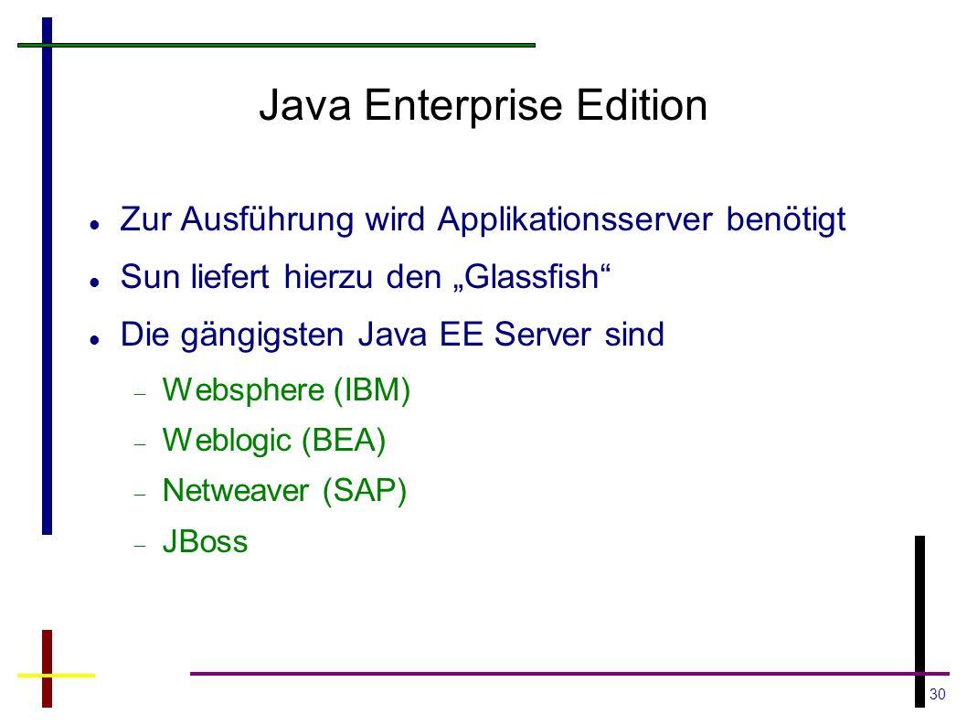 30 Java Enterprise Edition Zur Ausführung wird Applikationsserver benötigt Sun liefert hierzu den Glassfish Die gängigsten Java EE Server sind Websphe