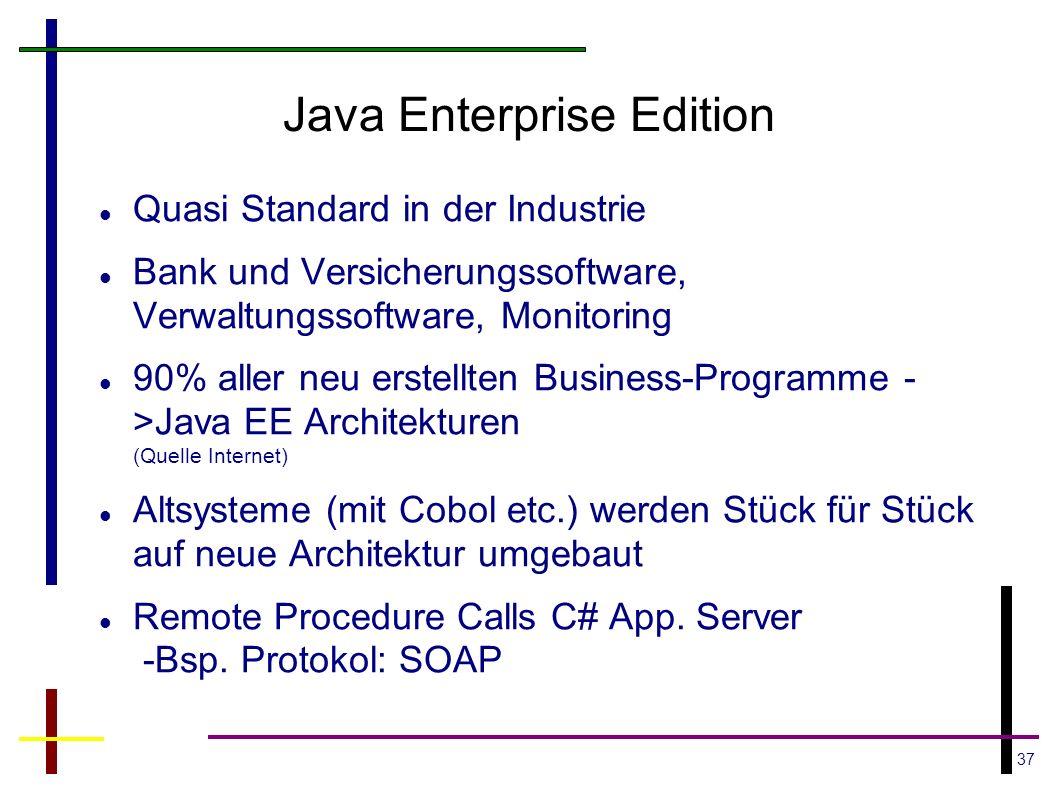 37 Java Enterprise Edition Quasi Standard in der Industrie Bank und Versicherungssoftware, Verwaltungssoftware, Monitoring 90% aller neu erstellten Bu