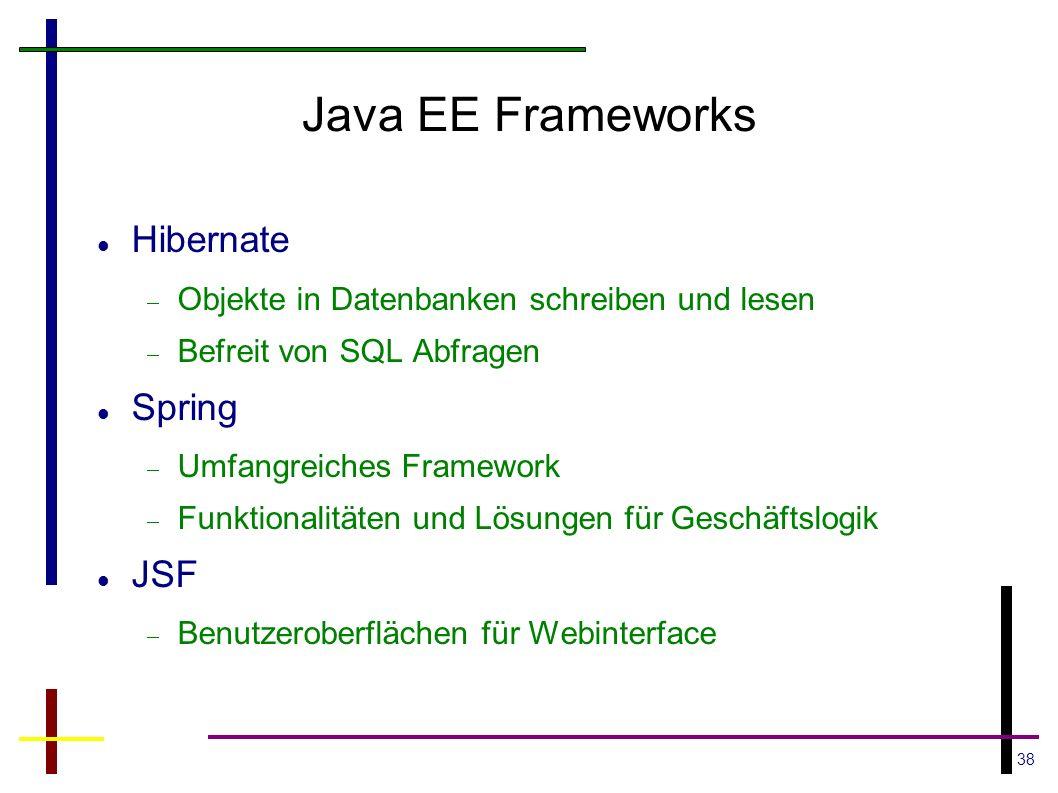 38 Java EE Frameworks Hibernate Objekte in Datenbanken schreiben und lesen Befreit von SQL Abfragen Spring Umfangreiches Framework Funktionalitäten un