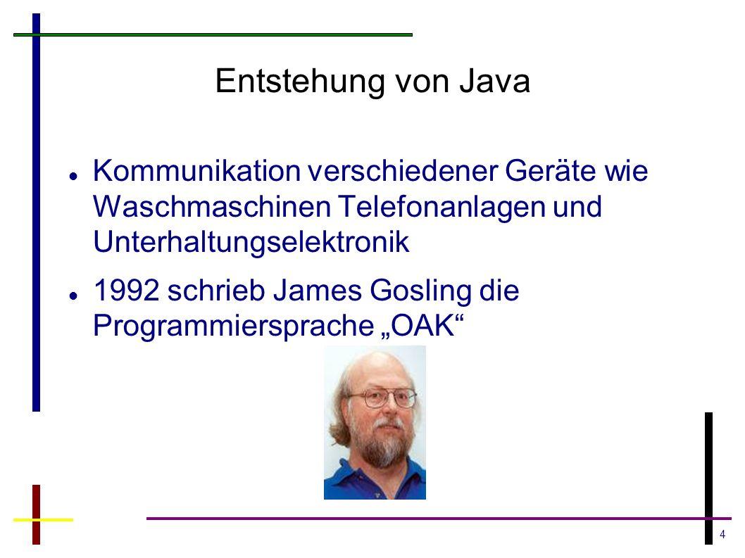 4 Entstehung von Java Kommunikation verschiedener Geräte wie Waschmaschinen Telefonanlagen und Unterhaltungselektronik 1992 schrieb James Gosling die