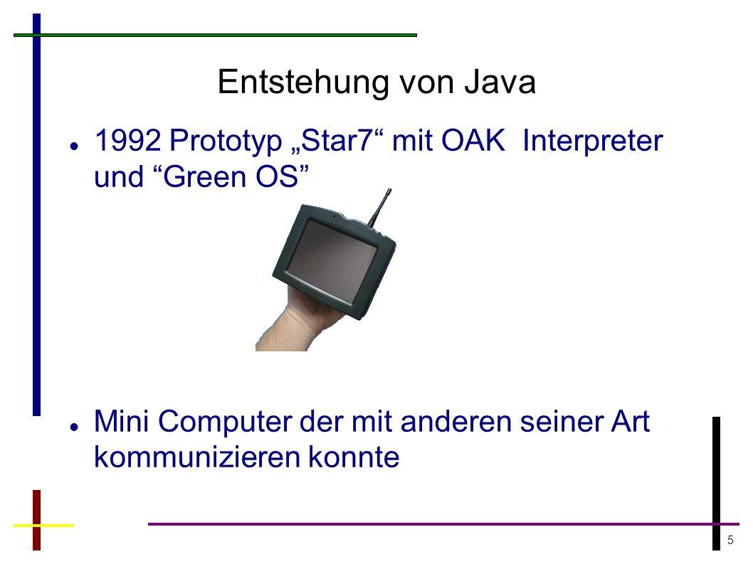 5 Entstehung von Java 1992 Prototyp Star7 mit OAK Interpreter und Green OS Mini Computer der mit anderen seiner Art kommunizieren konnte