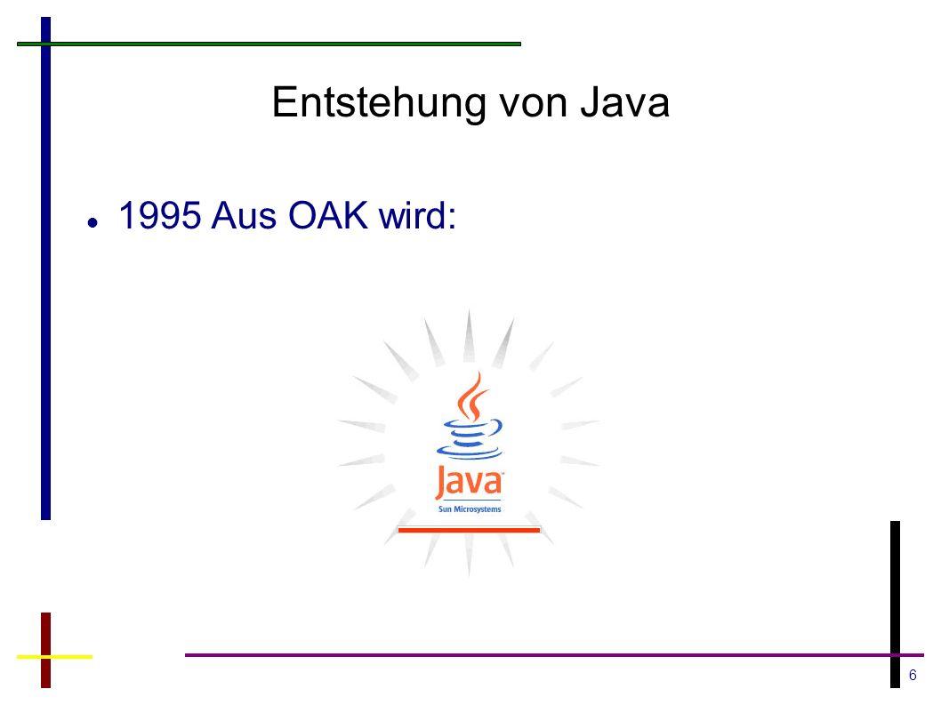 17 Java Standard Edition Beispiele Basis Frameworks und Bibliotheken Exception Framework IO Stream Framework Collection Framework Java Native Interface Threads Integrations Libraries(JDBC,RMI,JNDI) Applets GUI (AWT, Swing, SWT)