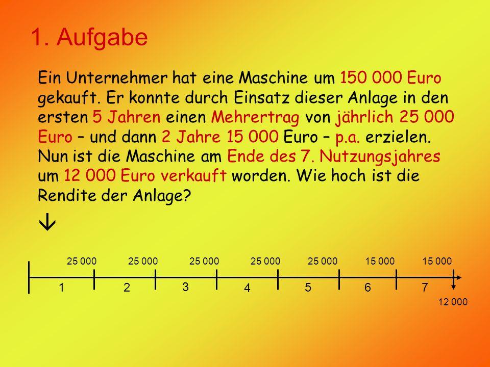 1. Aufgabe Ein Unternehmer hat eine Maschine um 150 000 Euro gekauft.