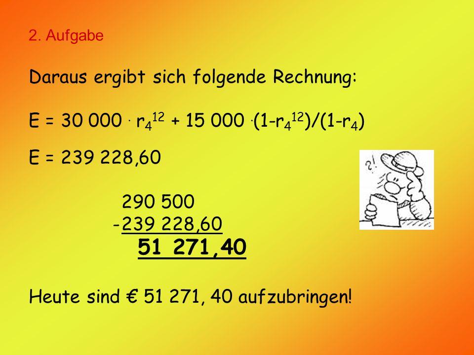 2. Aufgabe Daraus ergibt sich folgende Rechnung: E = 30 000.