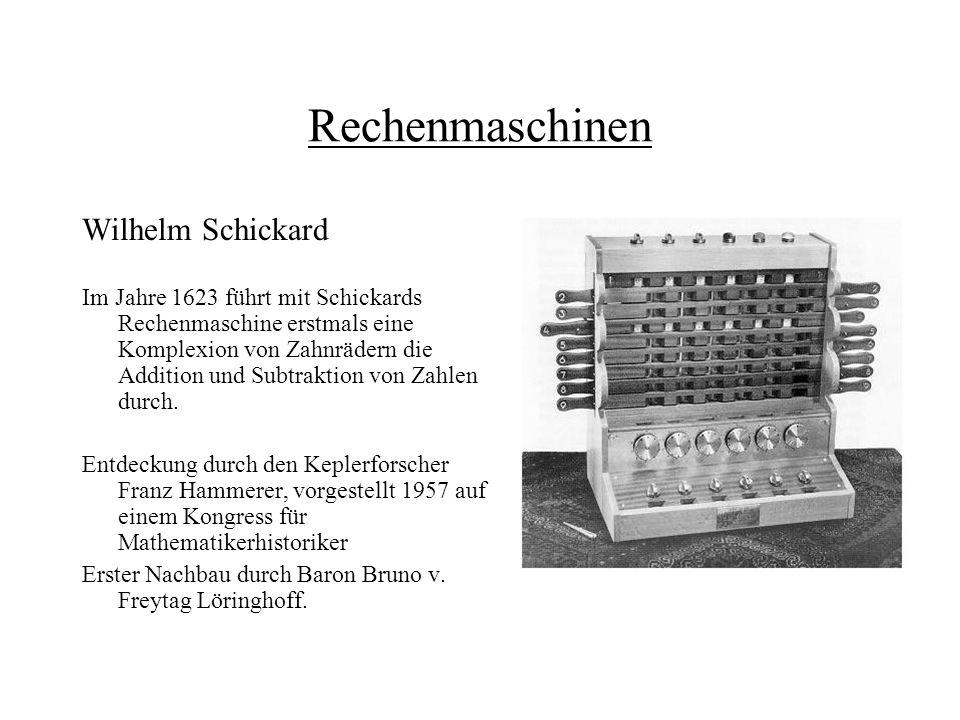 Rechenmaschinen Wilhelm Schickard Im Jahre 1623 führt mit Schickards Rechenmaschine erstmals eine Komplexion von Zahnrädern die Addition und Subtrakti