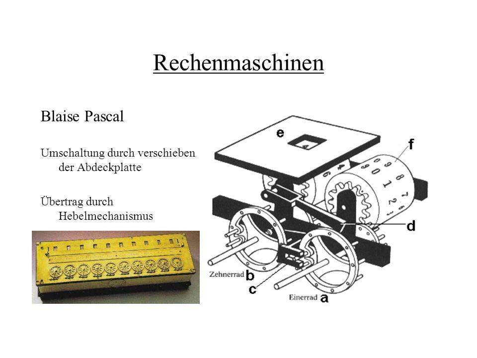 Rechenmaschinen Blaise Pascal Umschaltung durch verschieben der Abdeckplatte Übertrag durch Hebelmechanismus