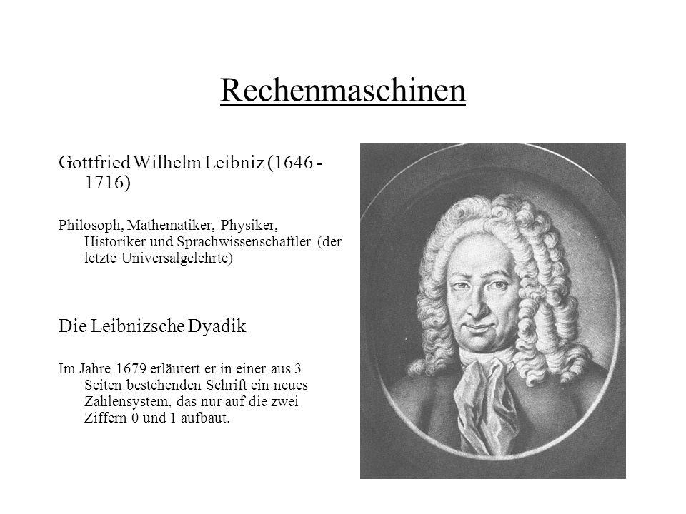 Rechenmaschinen Im Frühjahr 1996 schildert Leibniz während eines Aufenthalts in Wolfenbüttel dem Herzog von Braunschweig-Wolfenbüttel den Aufbau seines binäres Systems.