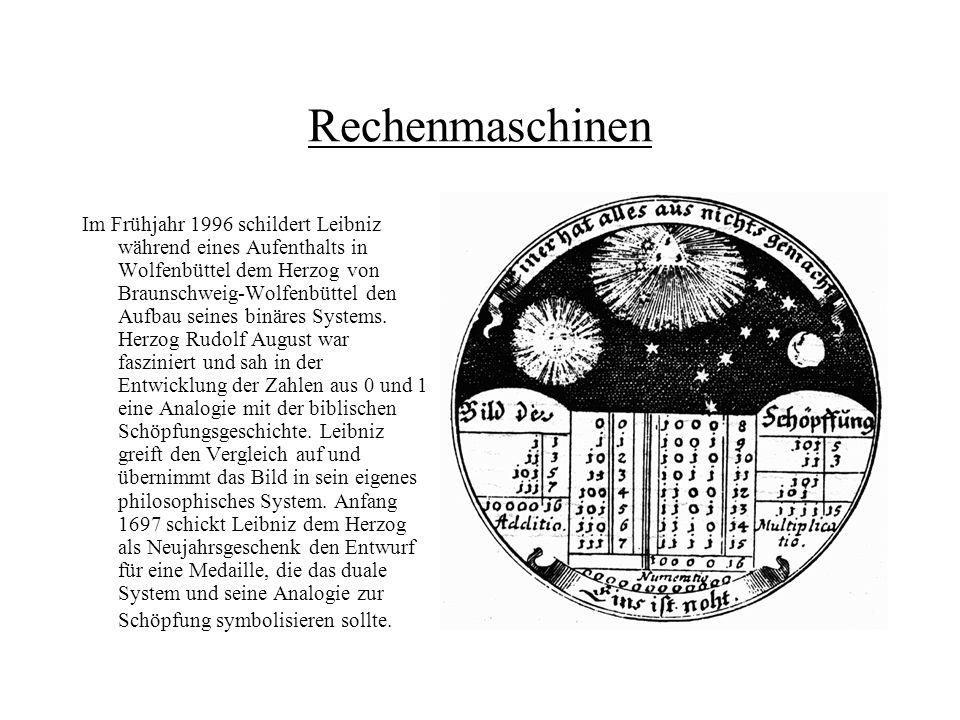 Rechenmaschinen Im Frühjahr 1996 schildert Leibniz während eines Aufenthalts in Wolfenbüttel dem Herzog von Braunschweig-Wolfenbüttel den Aufbau seine