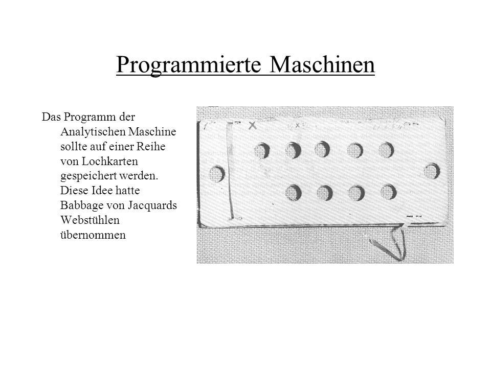 Programmierte Maschinen Das Programm der Analytischen Maschine sollte auf einer Reihe von Lochkarten gespeichert werden. Diese Idee hatte Babbage von