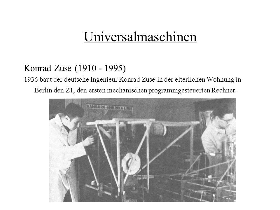 Universalmaschinen Konrad Zuse (1910 - 1995) 1936 baut der deutsche Ingenieur Konrad Zuse in der elterlichen Wohnung in Berlin den Z1, den ersten mech
