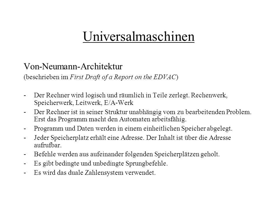 Universalmaschinen Von-Neumann-Architektur (beschrieben im First Draft of a Report on the EDVAC) -Der Rechner wird logisch und räumlich in Teile zerle