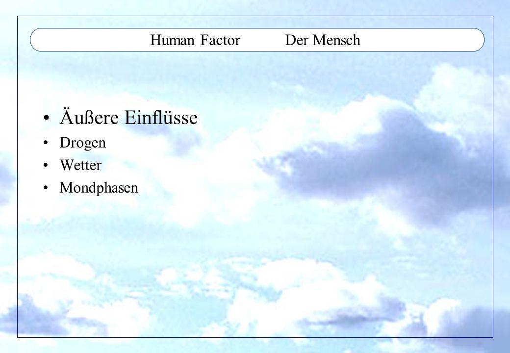 Human Factor Der Mensch Äußere Einflüsse Drogen Wetter Mondphasen
