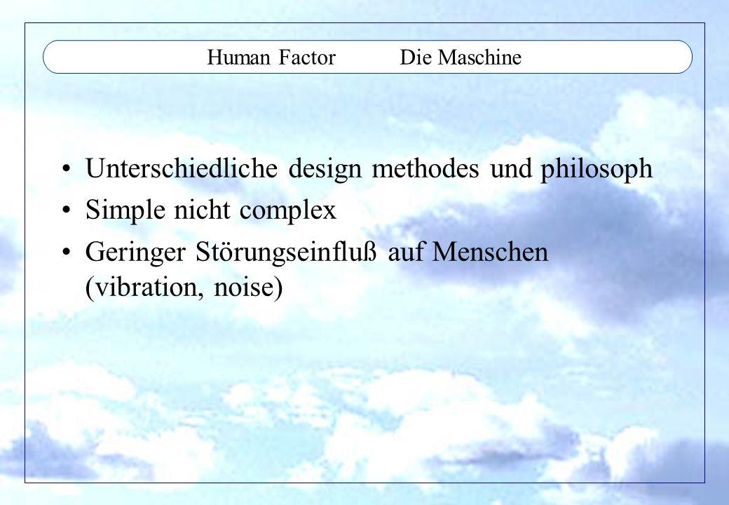 Human Factor Die Maschine Unterschiedliche design methodes und philosoph Simple nicht complex Geringer Störungseinfluß auf Menschen (vibration, noise)