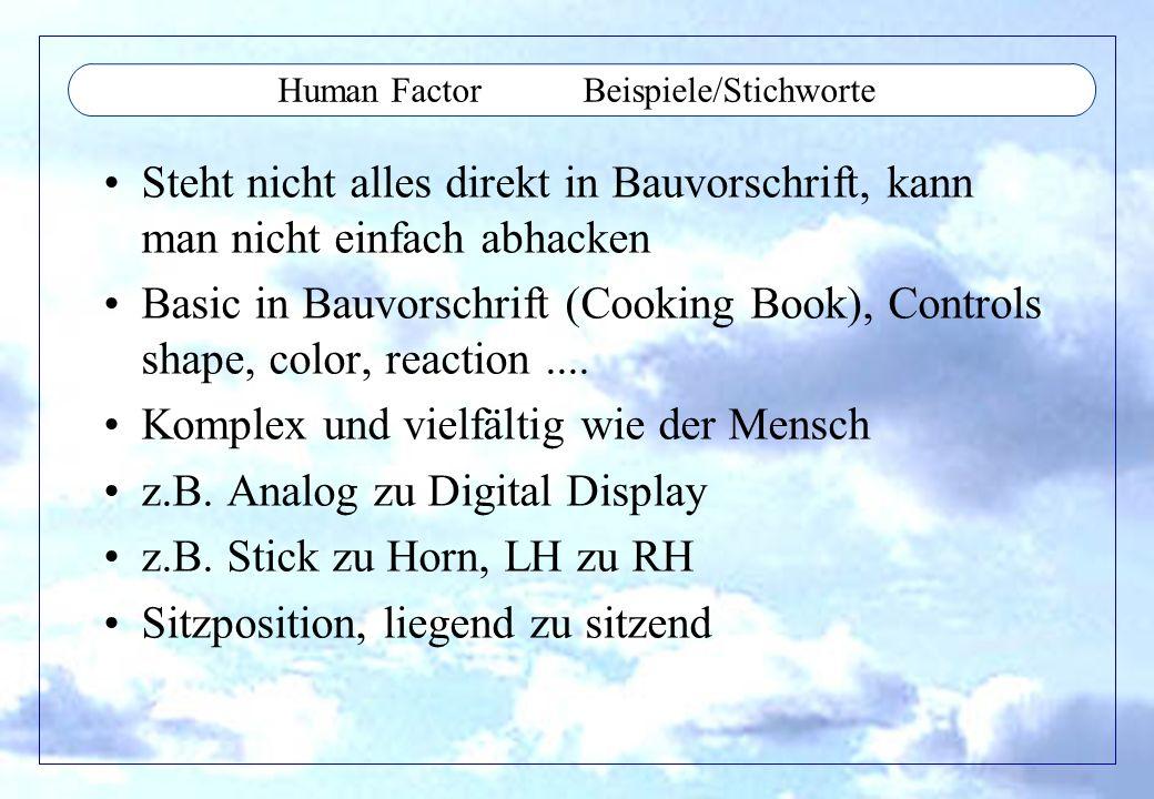 Human Factor Beispiele/Stichworte Steht nicht alles direkt in Bauvorschrift, kann man nicht einfach abhacken Basic in Bauvorschrift (Cooking Book), Co