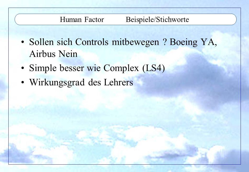 Human Factor Beispiele/Stichworte Sollen sich Controls mitbewegen ? Boeing YA, Airbus Nein Simple besser wie Complex (LS4) Wirkungsgrad des Lehrers