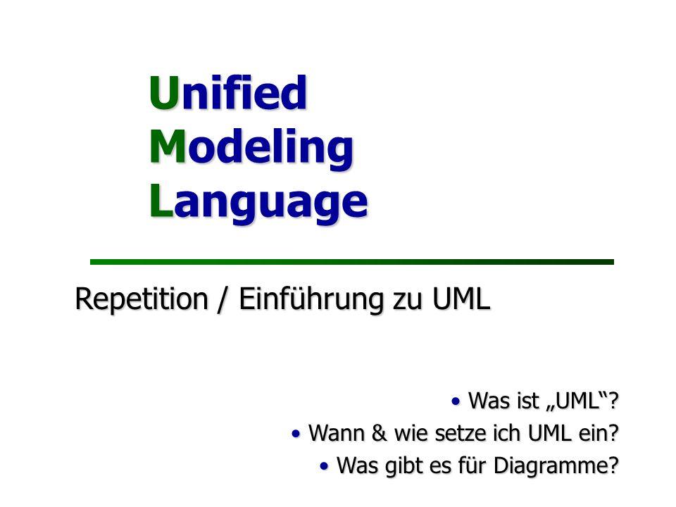 Unified Modeling Language Repetition / Einführung zu UML Was ist UML? Was ist UML? Wann & wie setze ich UML ein? Wann & wie setze ich UML ein? Was gib