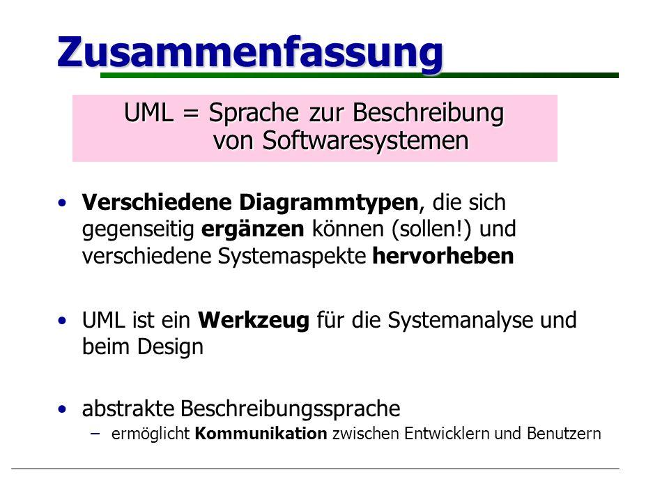 Zusammenfassung Verschiedene Diagrammtypen, die sich gegenseitig ergänzen können (sollen!) und verschiedene Systemaspekte hervorheben UML ist ein Werk