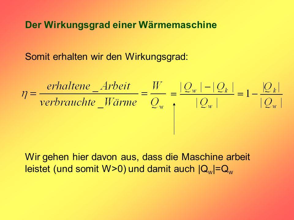 Der Wirkungsgrad einer Wärmemaschine Somit erhalten wir den Wirkungsgrad: Wir gehen hier davon aus, dass die Maschine arbeit leistet (und somit W>0) und damit auch |Q w |=Q w