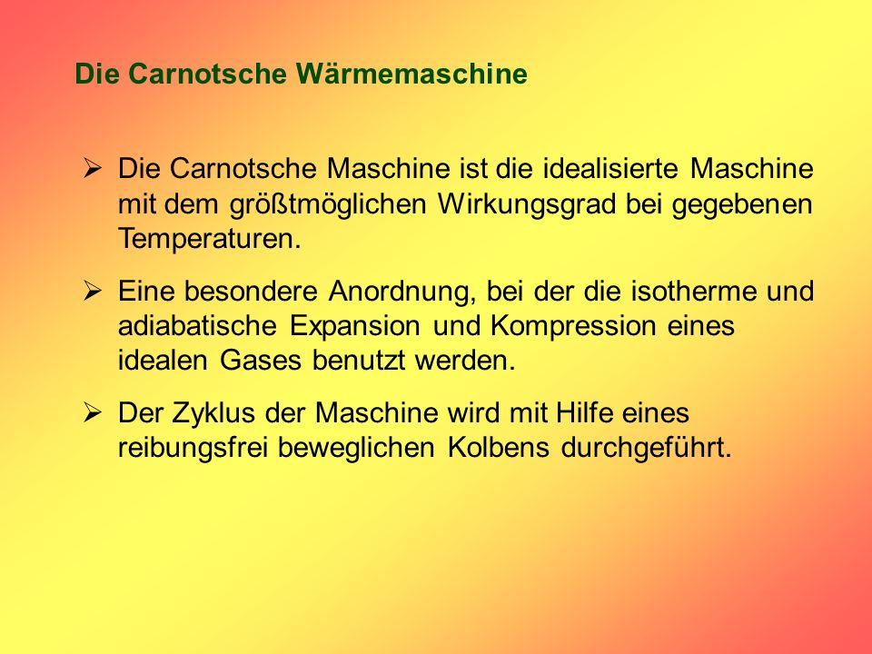 Die Carnotsche Wärmemaschine Die Carnotsche Maschine ist die idealisierte Maschine mit dem größtmöglichen Wirkungsgrad bei gegebenen Temperaturen. Ein