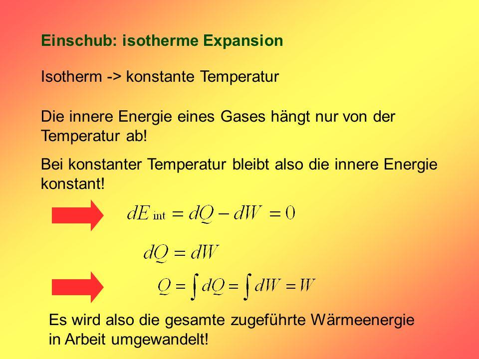 Einschub: isotherme Expansion Isotherm -> konstante Temperatur Die innere Energie eines Gases hängt nur von der Temperatur ab! Bei konstanter Temperat