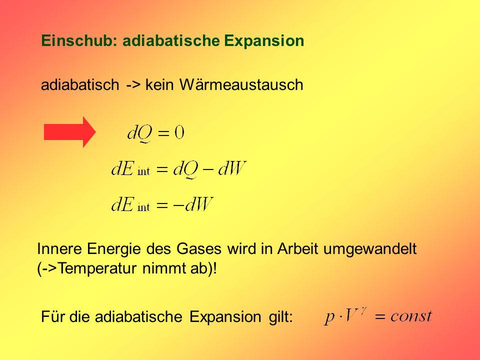Einschub: adiabatische Expansion adiabatisch -> kein Wärmeaustausch Innere Energie des Gases wird in Arbeit umgewandelt (->Temperatur nimmt ab)! Für d