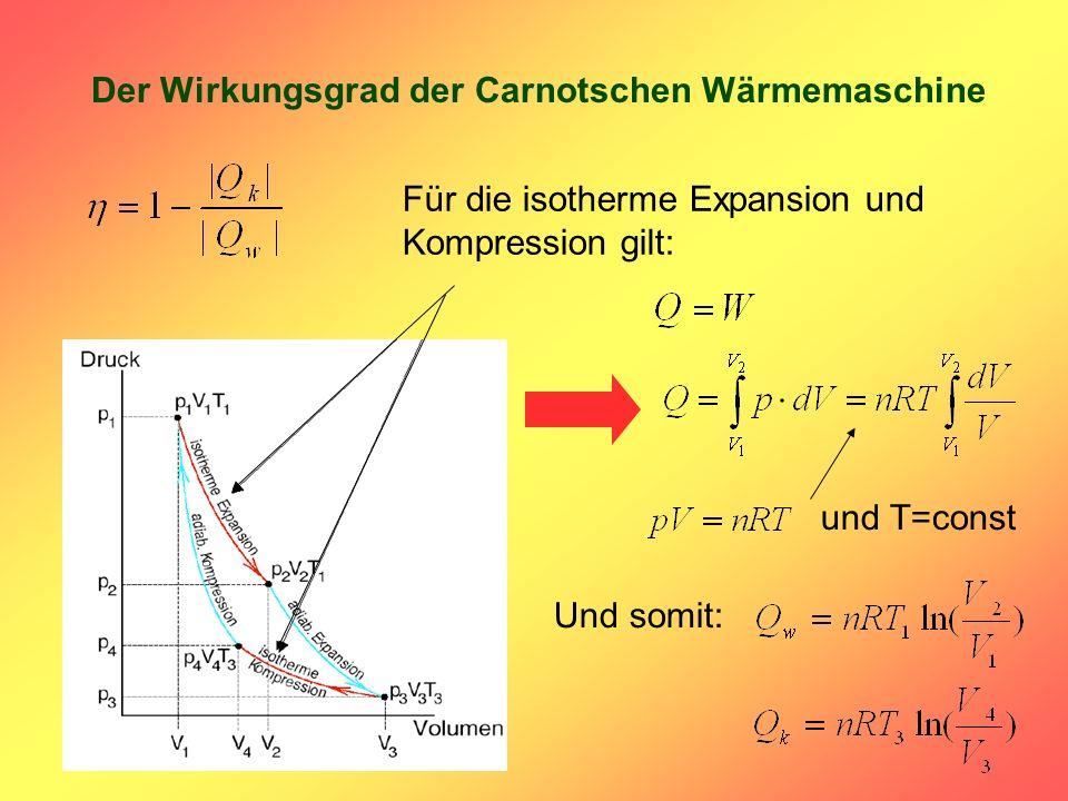 Der Wirkungsgrad der Carnotschen Wärmemaschine Für die isotherme Expansion und Kompression gilt: und T=const Und somit:
