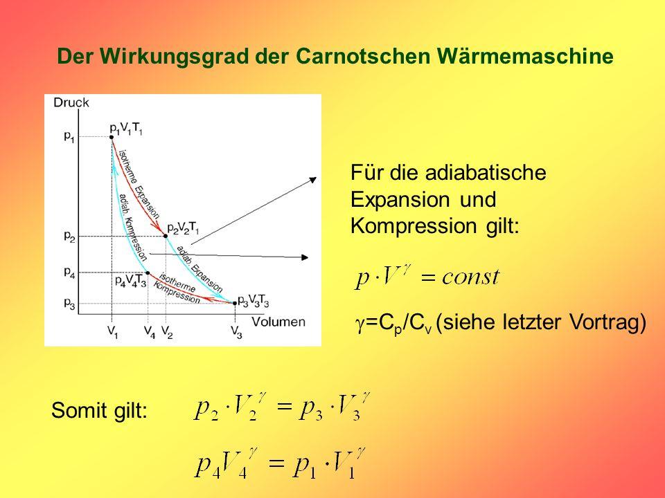 Der Wirkungsgrad der Carnotschen Wärmemaschine Für die adiabatische Expansion und Kompression gilt: =C p /C v (siehe letzter Vortrag) Somit gilt: