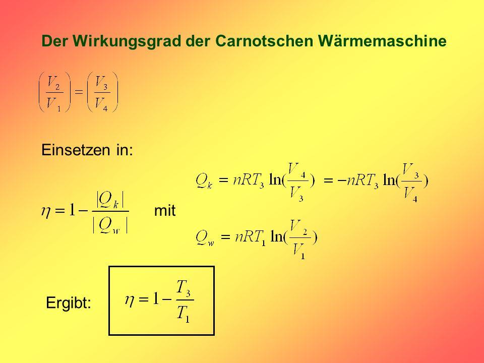 Der Wirkungsgrad der Carnotschen Wärmemaschine Einsetzen in: Ergibt: mit