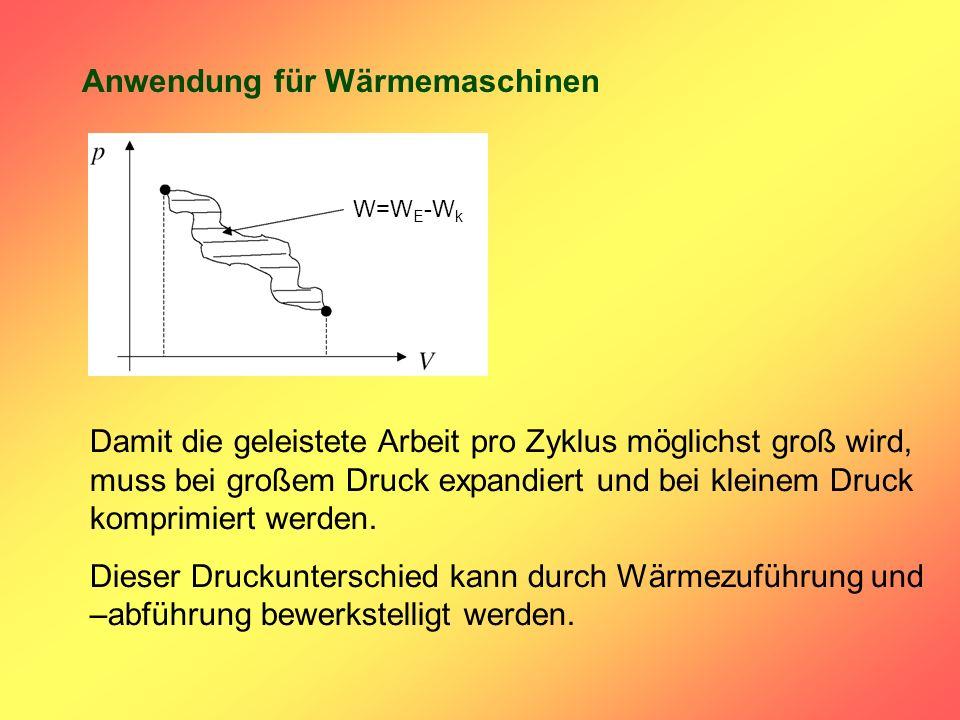 Anwendung für Wärmemaschinen Damit die geleistete Arbeit pro Zyklus möglichst groß wird, muss bei großem Druck expandiert und bei kleinem Druck komprimiert werden.