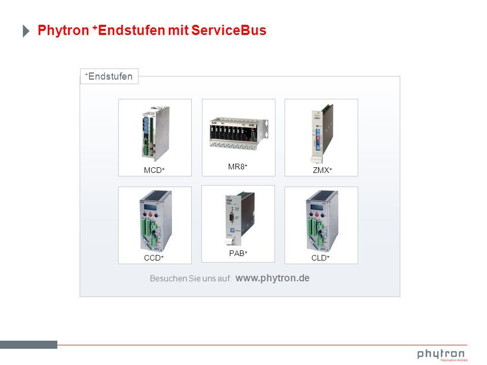 + Endstufen Besuchen Sie uns auf: www.phytron.de MCD + MR8 + PAB + ZMX + CCD + CLD + Phytron + Endstufen mit ServiceBus