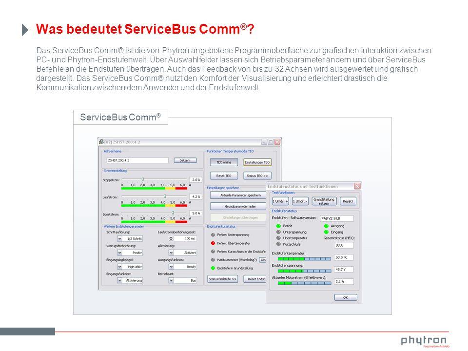 Das ServiceBus Comm® ist die von Phytron angebotene Programmoberfläche zur grafischen Interaktion zwischen PC- und Phytron-Endstufenwelt.