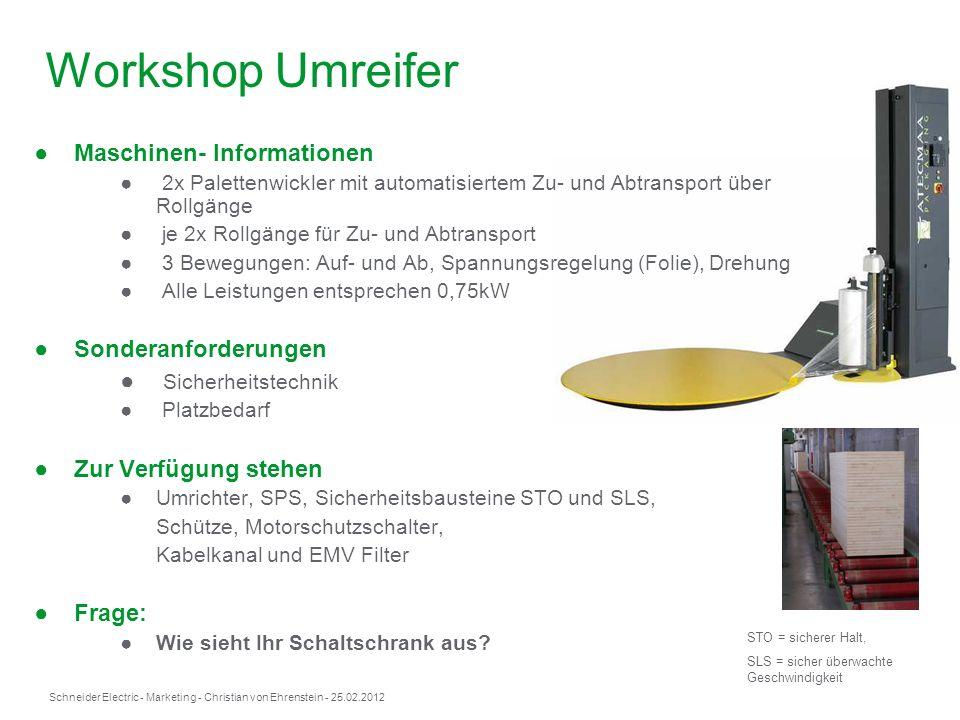 Schneider Electric- Marketing - Christian von Ehrenstein - 25.02.2012 Maschinen- Informationen 2x Palettenwickler mit automatisiertem Zu- und Abtransp