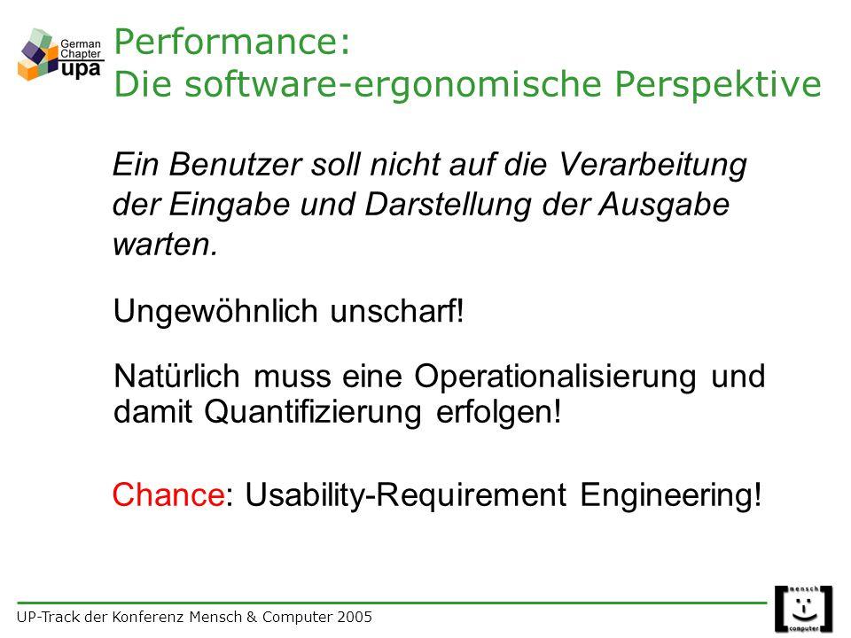 UP-Track der Konferenz Mensch & Computer 2005 Performance: Die software-ergonomische Perspektive Ein Benutzer soll nicht auf die Verarbeitung der Eingabe und Darstellung der Ausgabe warten.