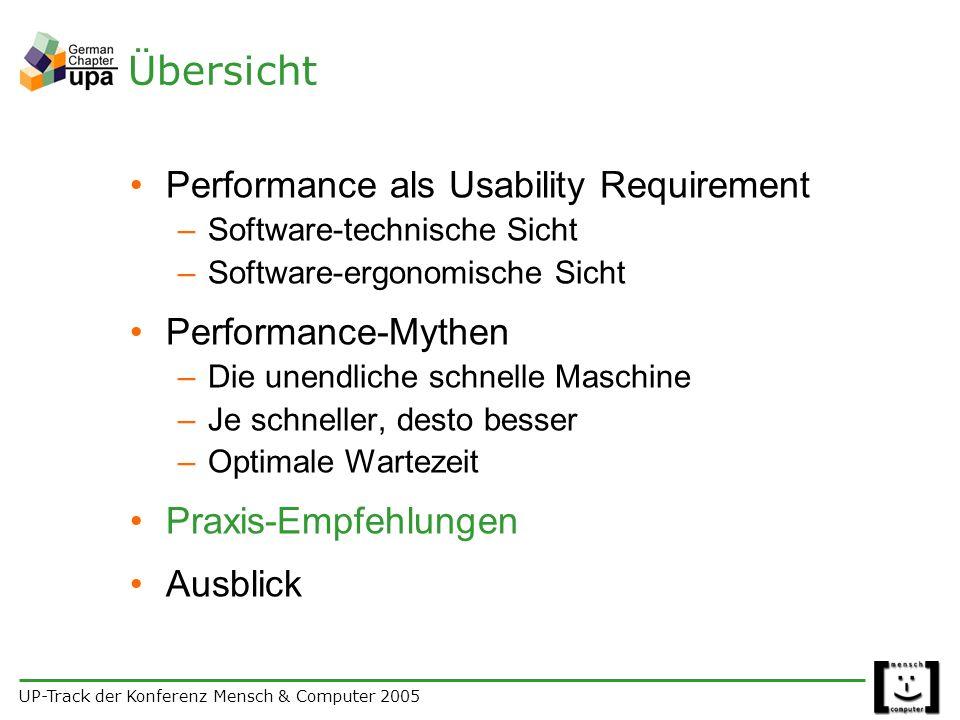 UP-Track der Konferenz Mensch & Computer 2005 Übersicht Performance als Usability Requirement –Software-technische Sicht –Software-ergonomische Sicht Performance-Mythen –Die unendliche schnelle Maschine –Je schneller, desto besser –Optimale Wartezeit Praxis-Empfehlungen Ausblick
