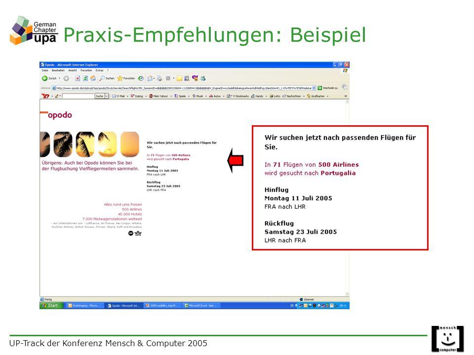 UP-Track der Konferenz Mensch & Computer 2005 Praxis-Empfehlungen: Beispiel