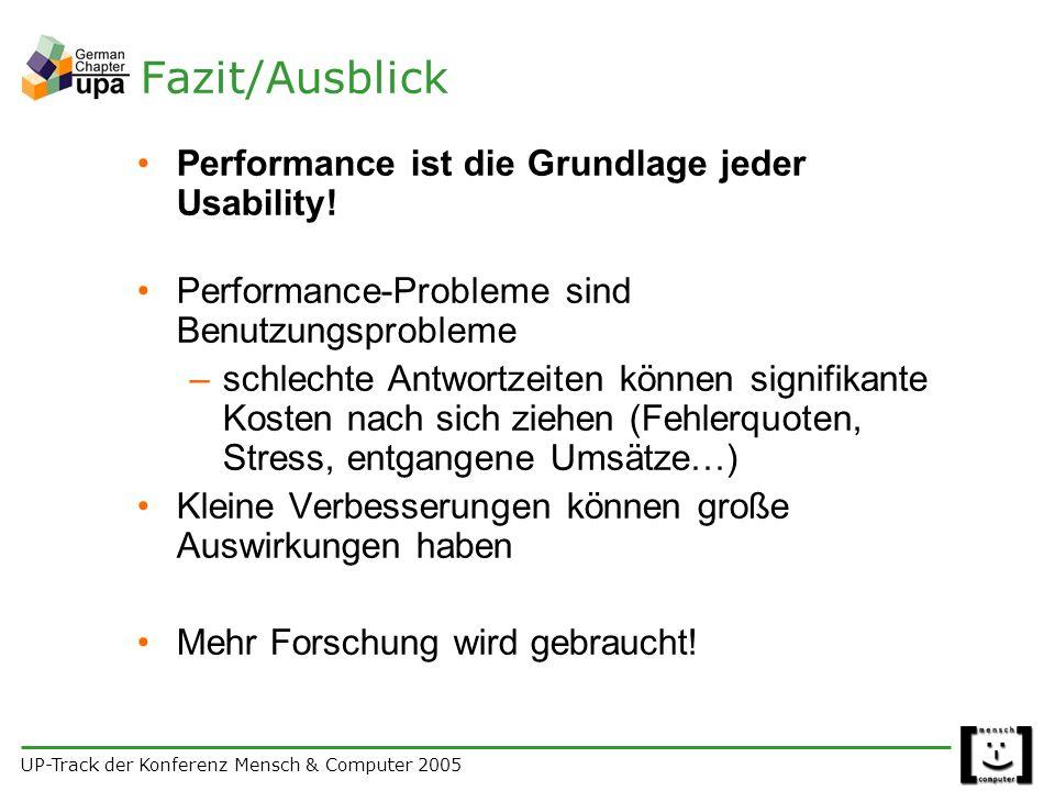 UP-Track der Konferenz Mensch & Computer 2005 Fazit/Ausblick Performance ist die Grundlage jeder Usability.