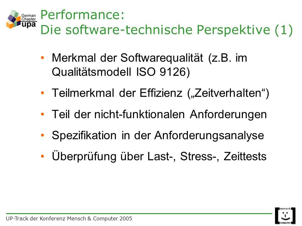 UP-Track der Konferenz Mensch & Computer 2005 Performance: Die software-technische Perspektive (1) Merkmal der Softwarequalität (z.B.