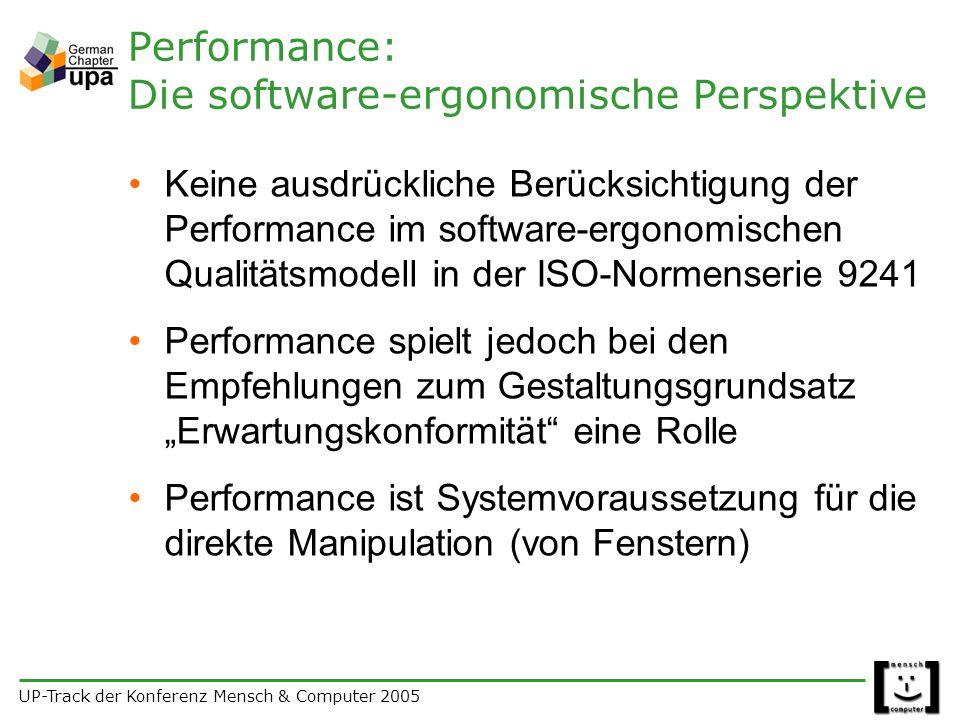 UP-Track der Konferenz Mensch & Computer 2005 Performance: Die software-ergonomische Perspektive Keine ausdrückliche Berücksichtigung der Performance im software-ergonomischen Qualitätsmodell in der ISO-Normenserie 9241 Performance spielt jedoch bei den Empfehlungen zum Gestaltungsgrundsatz Erwartungskonformität eine Rolle Performance ist Systemvoraussetzung für die direkte Manipulation (von Fenstern)