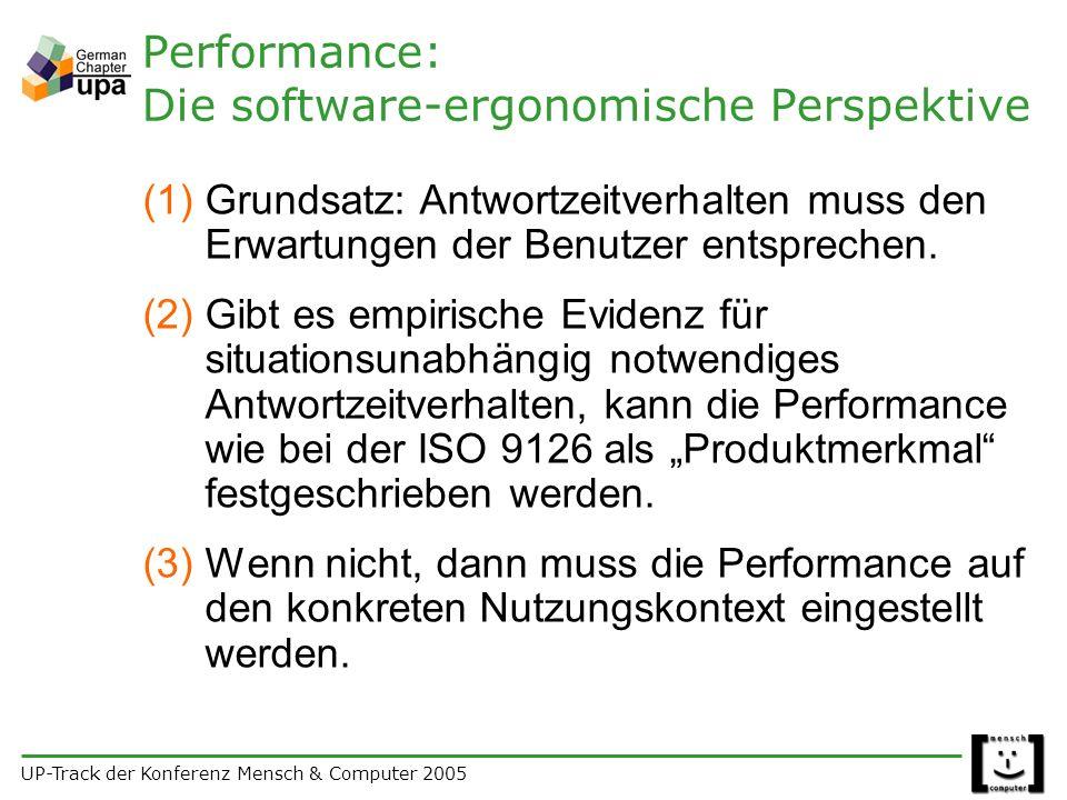 UP-Track der Konferenz Mensch & Computer 2005 Performance: Die software-ergonomische Perspektive (1)Grundsatz: Antwortzeitverhalten muss den Erwartungen der Benutzer entsprechen.
