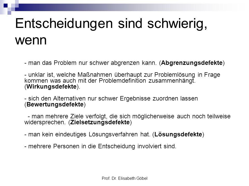 Prof. Dr. Elisabeth Göbel Entscheidungen sind schwierig, wenn - man das Problem nur schwer abgrenzen kann. (Abgrenzungsdefekte) - unklar ist, welche M