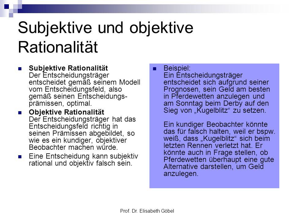 Prof. Dr. Elisabeth Göbel Subjektive und objektive Rationalität Subjektive Rationalität Der Entscheidungsträger entscheidet gemäß seinem Modell vom En
