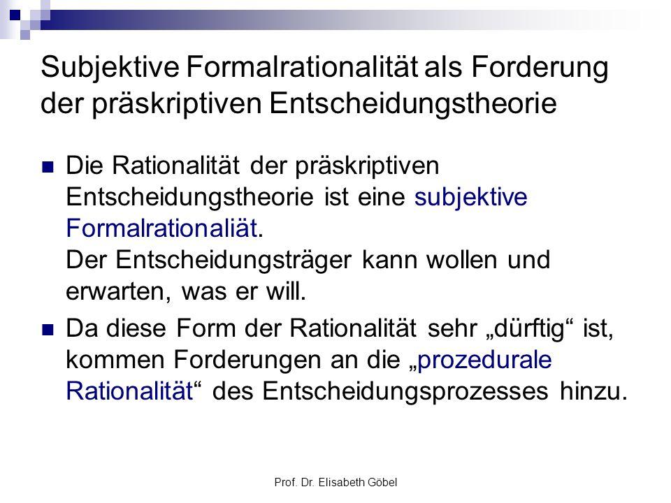 Prof. Dr. Elisabeth Göbel Subjektive Formalrationalität als Forderung der präskriptiven Entscheidungstheorie Die Rationalität der präskriptiven Entsch