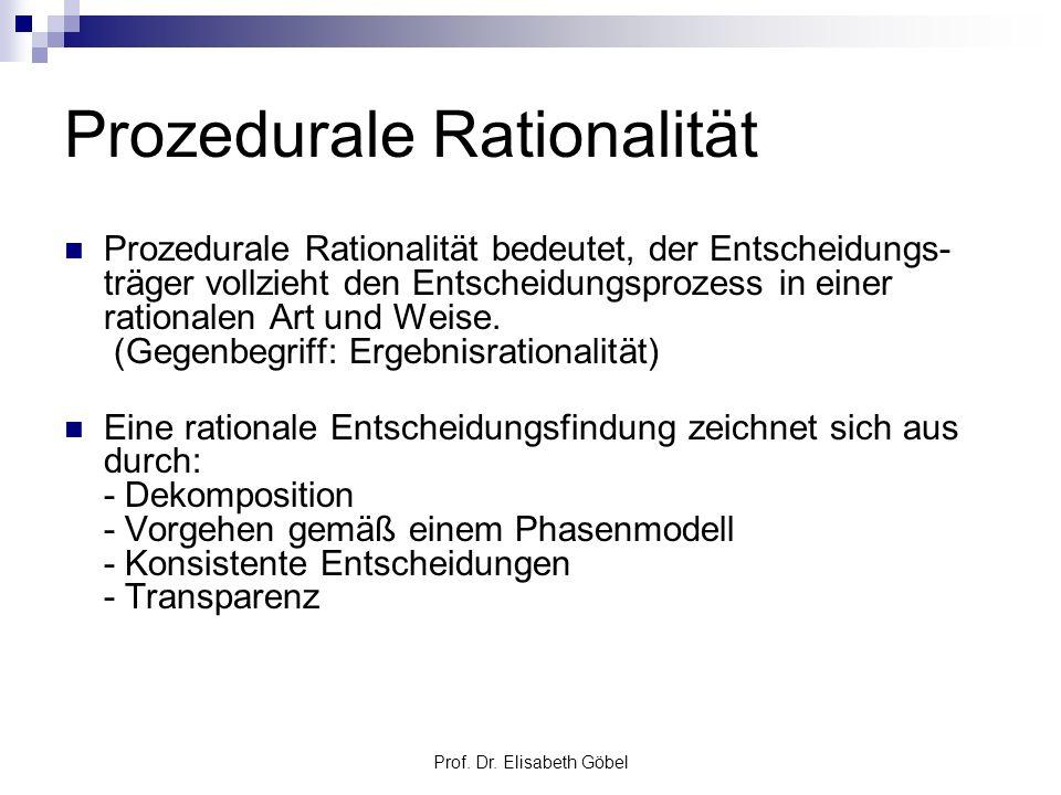 Prof. Dr. Elisabeth Göbel Prozedurale Rationalität Prozedurale Rationalität bedeutet, der Entscheidungs- träger vollzieht den Entscheidungsprozess in