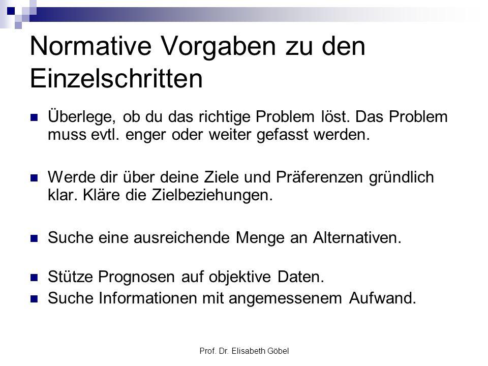 Prof. Dr. Elisabeth Göbel Normative Vorgaben zu den Einzelschritten Überlege, ob du das richtige Problem löst. Das Problem muss evtl. enger oder weite
