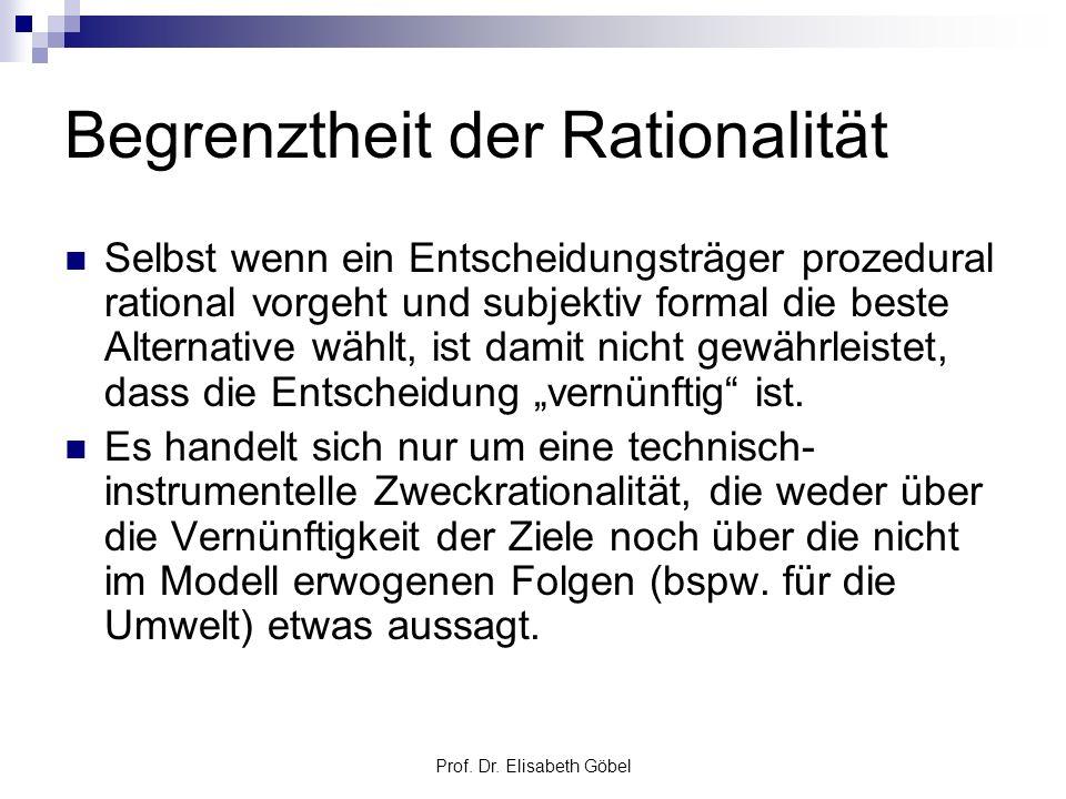 Prof. Dr. Elisabeth Göbel Begrenztheit der Rationalität Selbst wenn ein Entscheidungsträger prozedural rational vorgeht und subjektiv formal die beste