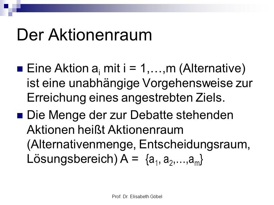Prof. Dr. Elisabeth Göbel Der Aktionenraum Eine Aktion a i mit i = 1,…,m (Alternative) ist eine unabhängige Vorgehensweise zur Erreichung eines angest