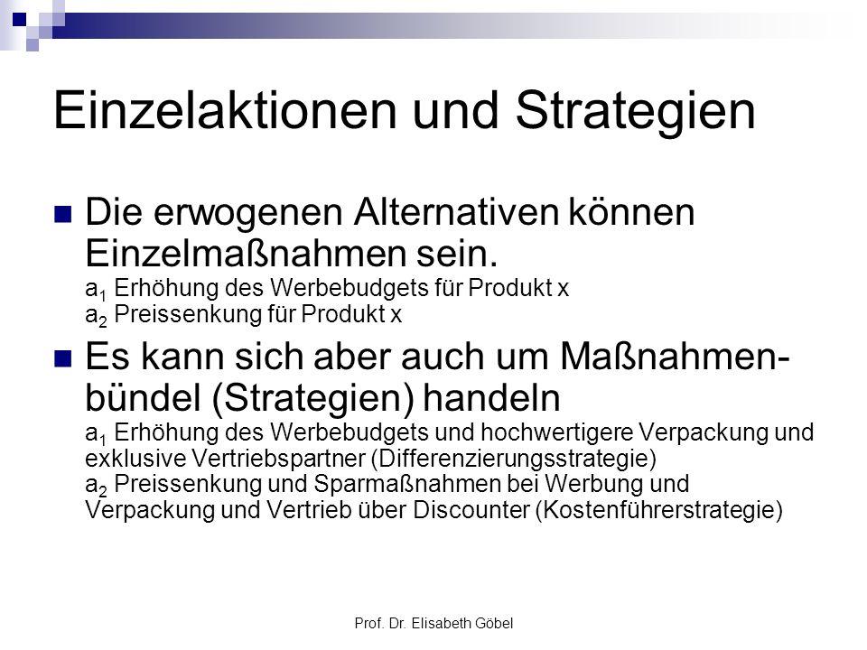 Prof. Dr. Elisabeth Göbel Einzelaktionen und Strategien Die erwogenen Alternativen können Einzelmaßnahmen sein. a 1 Erhöhung des Werbebudgets für Prod